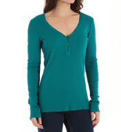 Michael Stars Thermal Long Sleeve Henley Tee 1474