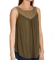 Michael Stars Lycra Jersey Sleeveless Shell Top with Voile Yoke 2244