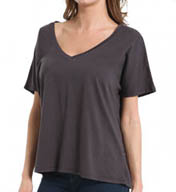 Michael Stars Dream Tee Short Sleeve V-Neck Top with Back Seam 8615