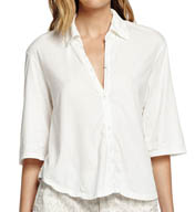 Michael Stars Dream Tees Elbow Sleeve Button Up Cropped Tee 8693