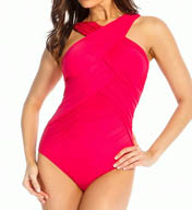 Miraclesuit Novel Ideas CrissCross Highneck One Piece Swimsuit 448541