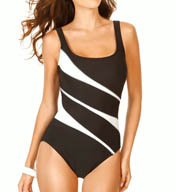 Miraclesuit Color Mix Helix Diagonal Print One Piece 450816