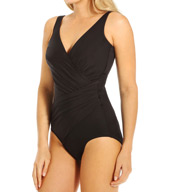 Miraclesuit DD Solid Oceanus Side Wrap One Piece Swimsuit 451688