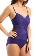Miraclesuit Net Work Mystify Sheer Wrap One Piece Swimsuit 470265