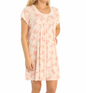 Miss Elaine Sofiknit Short Sleeve Floral Gown 203434
