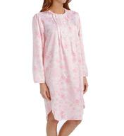 Miss Elaine Brushed Back Satin Long Sleeve Short Gown 216135