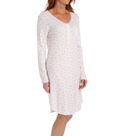 Miss Elaine Brushed Rib Knit Long Sleeve Short Gown 216985
