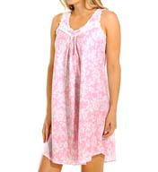 Miss Elaine Seersucker Sleeveless Floral Short Gown 223834