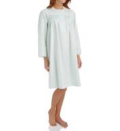 Miss Elaine Brushed Back Satin Long Sleeve Short Gown 236125