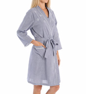Miss Elaine Seersucker Short Wrap Robe 304625
