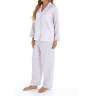 Miss Elaine Brushed Back Satin Printed PJ Set 401124