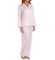 Miss Elaine Brushed Back Satin Dot PJ Set 406145