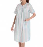 Miss Elaine Seersucker Stripe Gown 849664