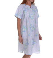 Miss Elaine Seersucker Short Snap Front Robe 852614