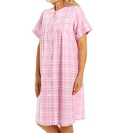 Miss Elaine Seersucker Short Plaid Robe 853624