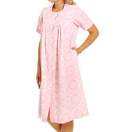 Miss Elaine Seersucker Short Floral Robe 853634
