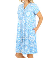 Miss Elaine Interlock Knit Button Front Short Floral Robe 853824