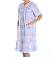 Miss Elaine Seersucker Plaid Short Button Front Robe 854665
