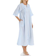 Miss Elaine Seersucker Solid Long Zip Robe 864635