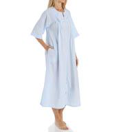 Miss Elaine Seersucker Solid Long Zip Robe 864635