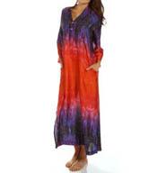 N by Natori Sleepwear Ombre Printed Satin Caftan XC0009