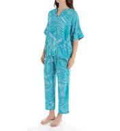 N by Natori Sleepwear Xian Printed Challis Pajama Set XC6022