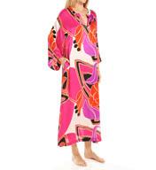 N by Natori Sleepwear Deco Floral Printed Satin Caftan YC0005