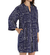N by Natori Sleepwear Tre Printed Challis Mandarin Tunic YC2002