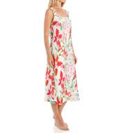 N by Natori Sleepwear Snapdragon Printed Charmeuse Long Gown YC3112