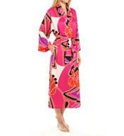 N by Natori Sleepwear Deco Floral Printed Satin Robe YC4005
