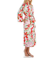 N by Natori Sleepwear Snapdragon Printed Charmeuse Long Robe YC4012