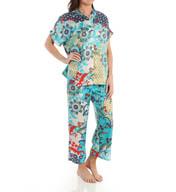 N by Natori Sleepwear Capri Printed Charmeuse Mandarin PJ Set YC6003