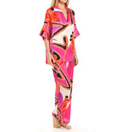 N by Natori Sleepwear Deco Floral Printed Satin Tunic PJ Set YC6005