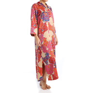 N by Natori Sleepwear Mosaic Tile Printed Charmeuse Long Caftan ZC0012