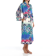 N by Natori Sleepwear Turkish Floral Printed Charmeuse Long Robe ZC4005