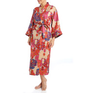 N by Natori Sleepwear Mosaic Tile Printed Charmeuse Long Robe ZC4012