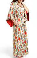 Natori Sleepwear Dynasty Printed Micro Satin Long Robe V74046