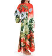 Natori Sleepwear Birds of Paradise Silky Charmeuse Zip Caftan Y70109