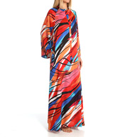 Natori Sleepwear Fiji Printed Silky Satin Long Zip Caftan Y70210