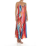Natori Sleepwear Fiji Printed Silky Satin Long Gown Y73010