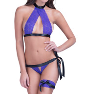 Oh La La Cheri Lace Bra with Peek-a-Boo Panty and Leg Garter 5007