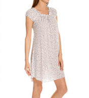 Oscar De La Renta Dots Luxe Knit Cap Sleeve Short Gown 683752