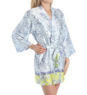 Oscar De La Renta Blue Floral Wrap Robe 684950