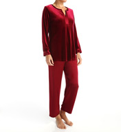 Oscar De La Renta Vibrant Velvet and Satin Pajama Set 6891061