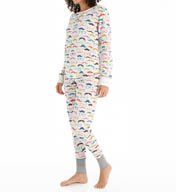 PJ Salvage Mustache Thermal Pajama Set HMOUSKI