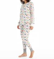 PJ Salvage Mustache Thermal Pajama Set HMOUSKI