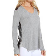 PJ Salvage Rayon Basics Long Sleeve Top With Lace IRAYLS2