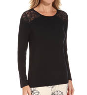 PJ Salvage Luxe Ink Floral Long Sleeve Lace Top RHINKLS