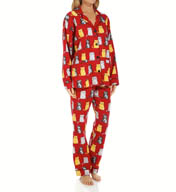 PJ Salvage Fall Into Flannel Wise Cats PJ Set RWISPJ