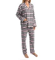 PJ Salvage Fall into Flannel Pink Plaid Pajama Set VBLAPJ